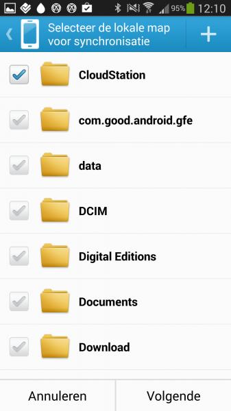 Android: Door op de + te drukken rechtsbovenaan, kan je eventueel een nieuwe map aanmaken.