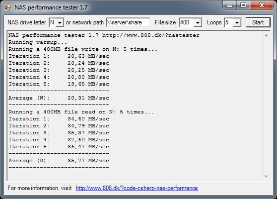 Screenshot NAS Tester