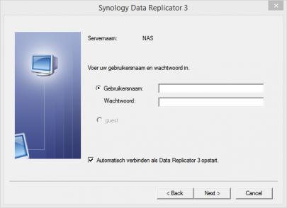 Credentials invullen in data replicator