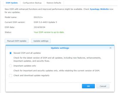 Update Scherm in DSM 5.0