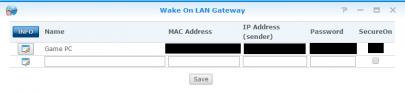 WakeOnLan Gateway Screenshot